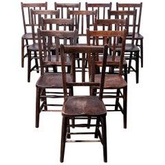 1920s Dark Elm Church, Chapel Dining Chairs, Set of Twelve