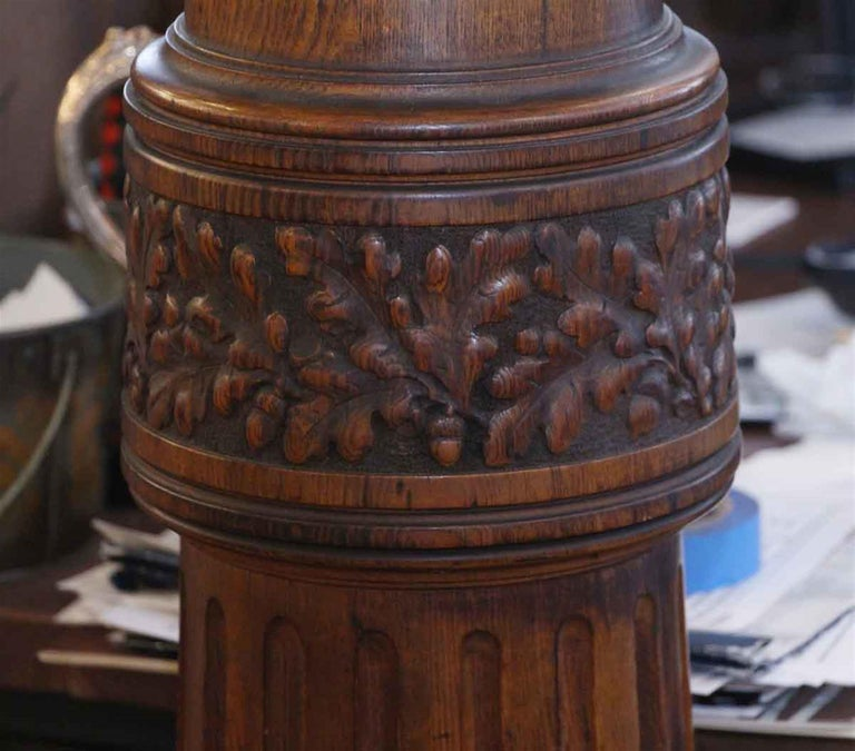 American 1920s Dark Tone Octagonal Oak Pedestal with Pivoting Top For Sale