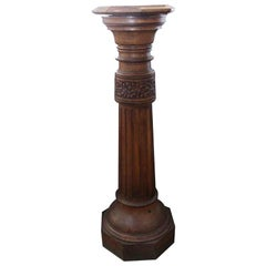 1920s Dark Tone Octagonal Oak Pedestal with Pivoting Top