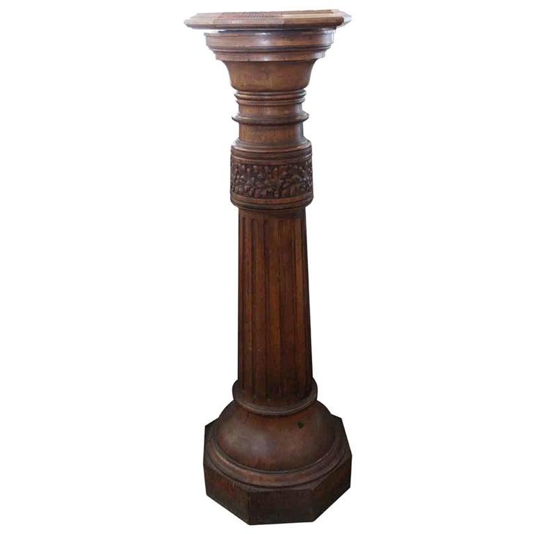 1920s Dark Tone Octagonal Oak Pedestal with Pivoting Top For Sale