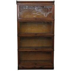 1920s Dark Wood Tone Barrister Bookcase