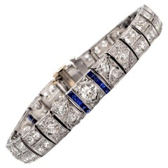 1920s Deco Diamond Sapphire Filigree Platinum Link Bracelet