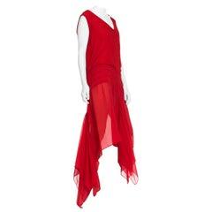 1920S Lipstick Red Haute Couture Silk Chiffon Flutter Hem Dancing Dress With Ex