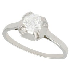 1920s Diamond and White Gold with Platinum Set Solitaire Ring