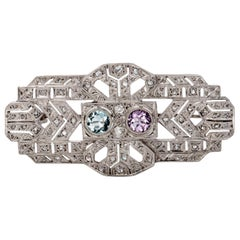 1920s Diamond, Aquamarine and Amethyst Platinum Brooch
