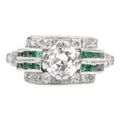 1920s Diamond Emerald Platinum Engagement Ring
