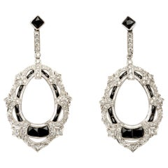 1920s Diamond, Onyx, Platinum Dangle Earrings