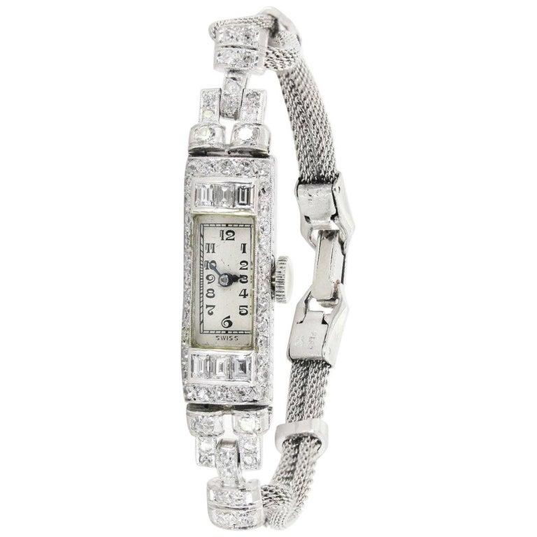 1920s Diamond Platinum Ladies Watch