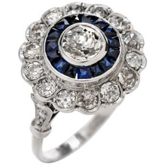 1920s Diamond Sapphire Platinum Old European Cut Cluster Ring