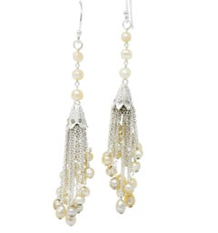 1920s Diamond Seed Pearl Platinum 14 Karat White Gold Tassel Drop Deco Earrings
