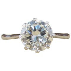 1920s Diamond Solitaire Engagement Ring in 18 Carat White Gold, 1.14 Carat