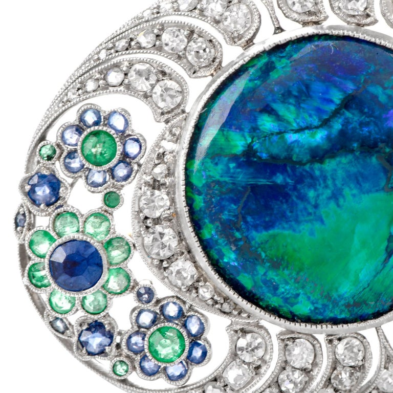 1920s Diamond Stone Black Opal Sapphire and Emerald Floral Bouquet Brooch In Excellent Condition For Sale In Miami, FL