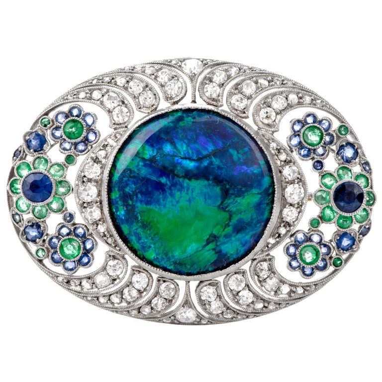 1920s Diamond Stone Black Opal Sapphire and Emerald Floral Bouquet Brooch For Sale