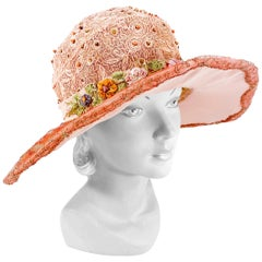 1920s Dusty Rose Pink Picture Hat with Lamé and Silk Flowers