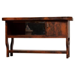 1920s Dutch Sideboard with Glass Sliding and Wooden Folding Doors in Burl Walnut