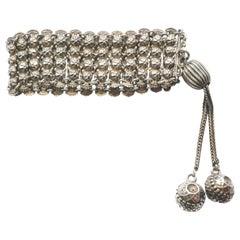 1920s Dutch Woven Silver Bracelet Slide Closure