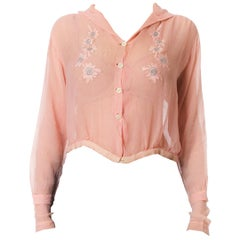 1920S Baby Pink Sheer Silk Chiffon Edwardian Blouse Embroidered With Blue Flowe