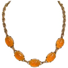 1920s Egyptian Revival Art Glass Scarab Necklace