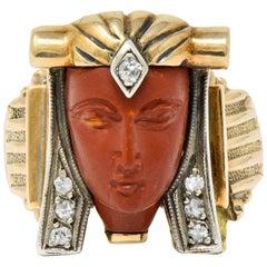 1920s Egyptian Revival Diamond Jasper Platinum 14 Karat Gold Pharaoh Ring