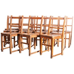 1920s Elm Chapel/Church Stacking Dining Chairs, Set of Twelve, Other Quantiti