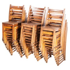 1920s Elm Chapel/Church Stacking Dining Chairs, Set of Twenty Four