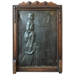 1920s Embossed Tin Plaque of Dutch Sailor in Wood Frame