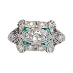 1920S Emerald and 0.4 Carat Old European Diamond Engagement Ring, Platinum
