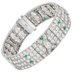 1920s Emerald and Diamond Stunning Bracelet
