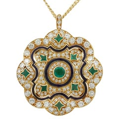 1920s Emerald and Diamond, Enamel Yellow Gold Pendant