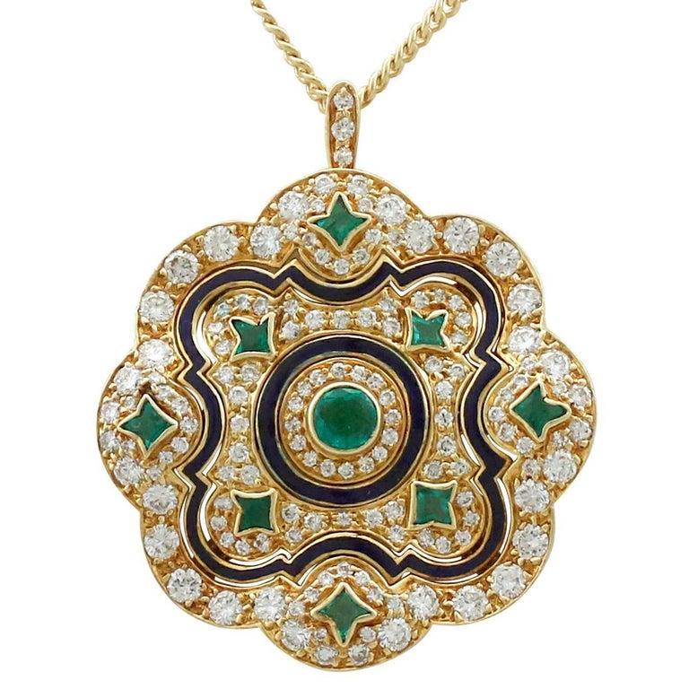 1920s Emerald and Diamond, Enamel Yellow Gold Pendant