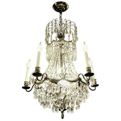 1920s Empire Style 10-Light Crystal and Brass Basket Chandelier