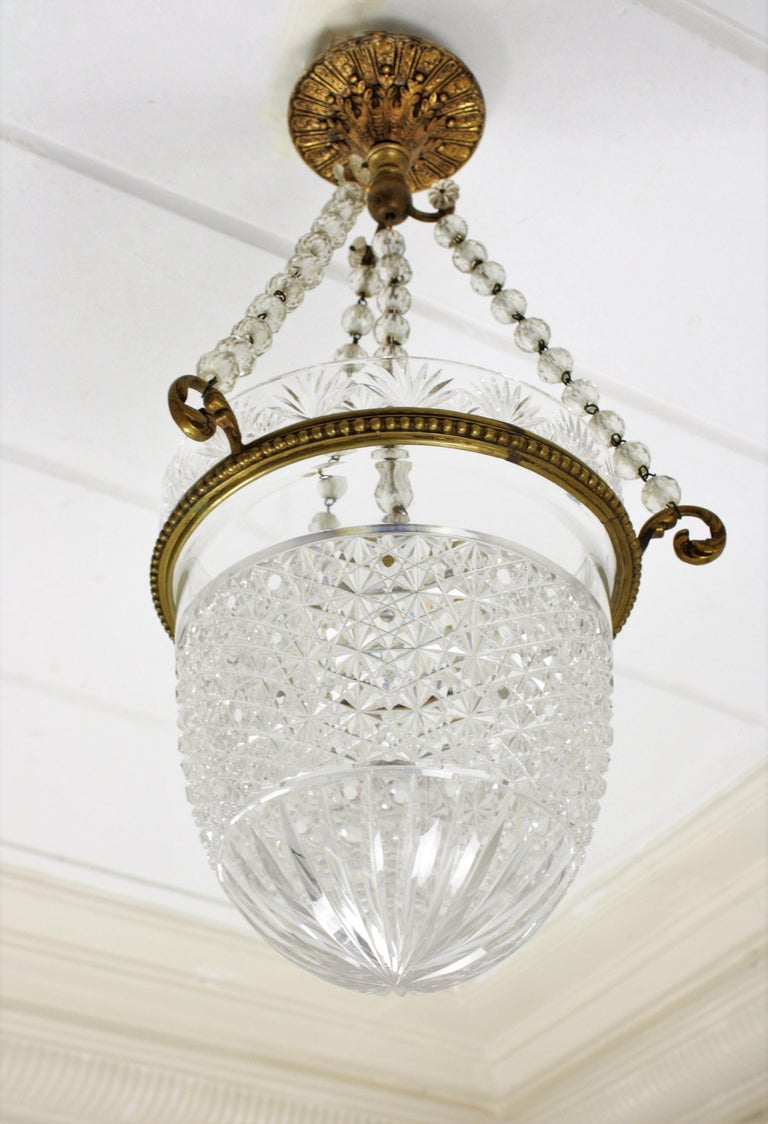 1920s Empire Style Bronze And Bohemian Crystal Cut Glass