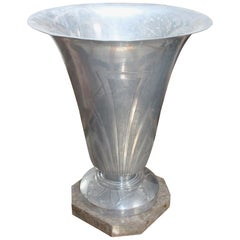 1920s English Art Deco Aluminium Lamp with Marble Base