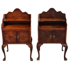 1920s English Matched Pair Burl Walnut Bedside Cabinets