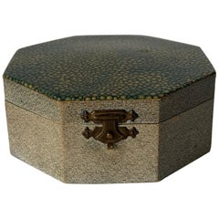 1920s English Octagonal Faux Shagreen Vanity Box