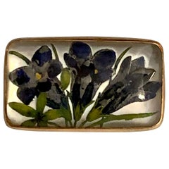 1920s Essex Crystal Glass Iris Floral 14 Karat Yellow Gold Brooch Pin
