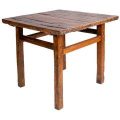 1920s European Natural Wood Finish Square Table