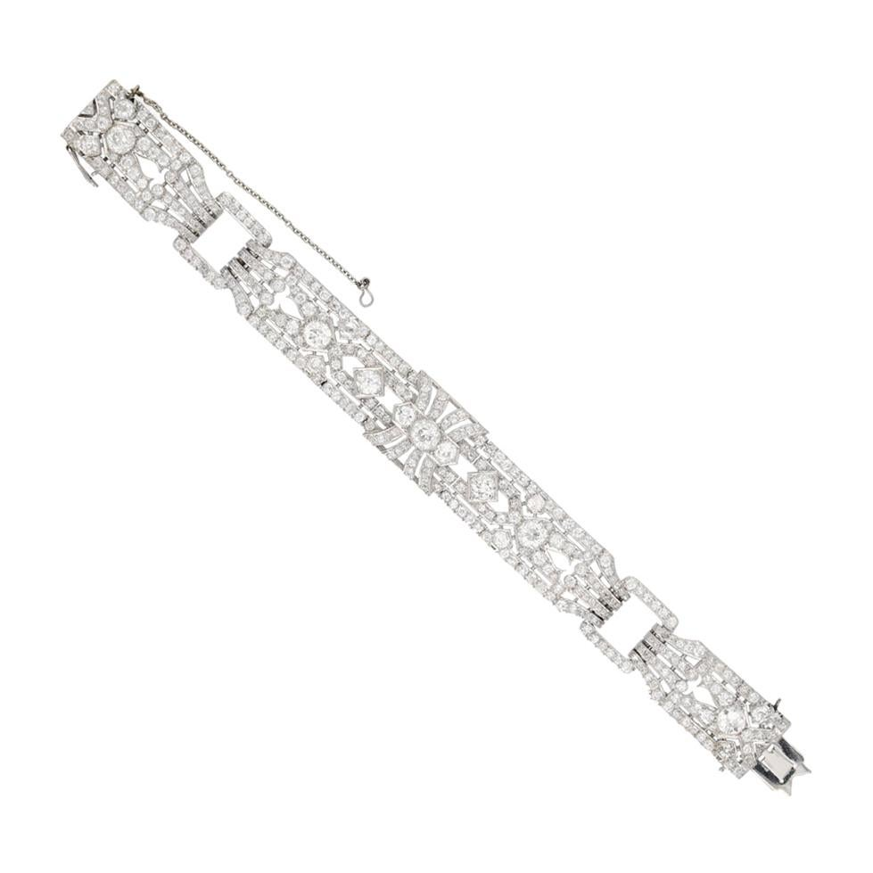 1920s Exceptional Diamond Platinum Bracelet