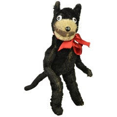 1920s Felix the Cat , Stuffed Mohair Children's Toy