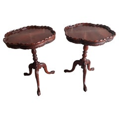 1920s Flame Mahogany Pie Crust Side Tables, a Pair