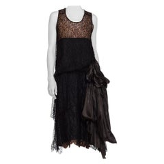 1920S Black Silk Lace Flapper Cocktail Dress With Built In Slip & Large Charmeu