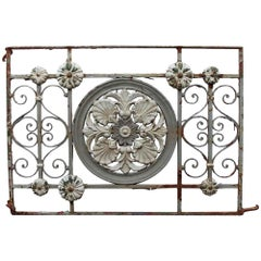 1920s Floral Gray and White Wrought Iron Balcony
