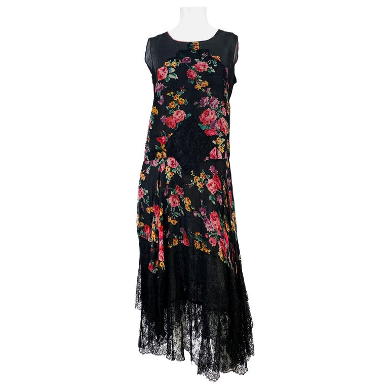 1920s Floral Printed Chiffon Drop-waist Dress with Lace Accents For Sale