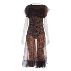 1920s Floral Silk Chiffon Dress With Black Chiffon & Lace Details