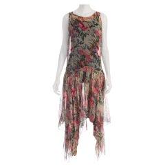 1920S Floral Silk Chiffon Drop Waist Garden Party  Dress With Floaty Handkerchi