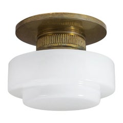 1920s Flush Mount, Brass and Milk Glass