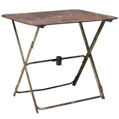 1920s Folding French Metal Garden Table