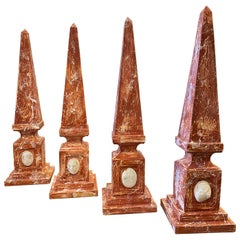 1920s Four Ancient Hand-Painted Fake Marble Wood Italian Obelisks