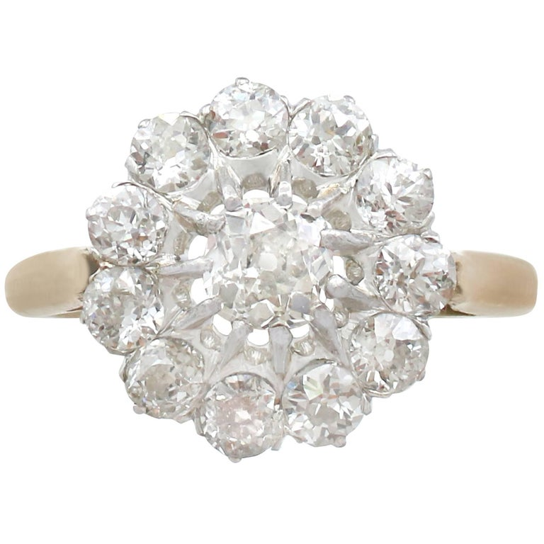 1920s French 2.58 Carat Diamond and Yellow Gold Cluster Ring