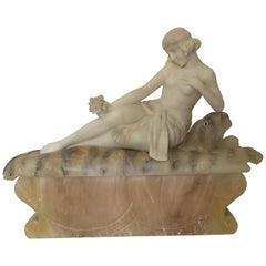 1920s French Alabaster Fantasy Sculpture / Lamp